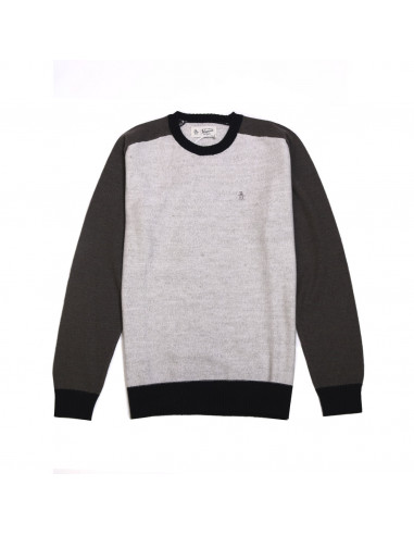 Penguin Contrast Waffle Sweater